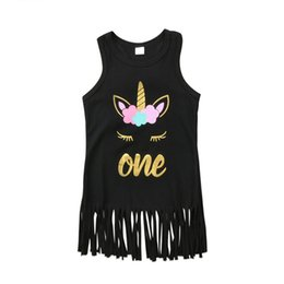 Wholesale Sleeveless T Shirts For Babies - Cartoon Unicorn Baby Girls Soft Tassel Dress Summer Sleeveless lovely Princess T-shirt Dress for Toddlers Kids Party Gown Top Clothes