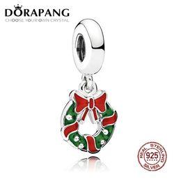 Wholesale berry bracelet - DORAPANG 100% 925 Sterling Silver Holiday Wreath Dangle Charm Berry Red & Green Enamel Pendant Charms Bead Bracelet DIY