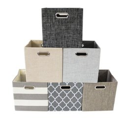 Wholesale Towelling Fabric Wholesale - 6 Styles Foldable Handle toys Storage Box clothes Storage Basket Towel Laundry Box Container Fabric Bins Storage Bags FFA227 10pcs