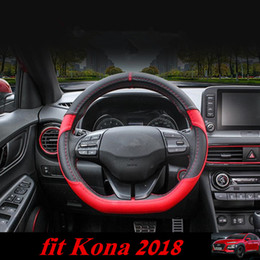 Wholesale Hyundai Design - For Hyundai Kona 2018 Car Steering Cover Steering Wheel Covers Soft PU Design Interior Kits for Kona New