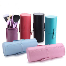 Wholesale make up cup holder - 12 pcs Makeup Brushes Sets with Cup Holder Goat hair Professional Cylinder Cases Cosmetic Brush for Eyes Foundation Make up brush kit