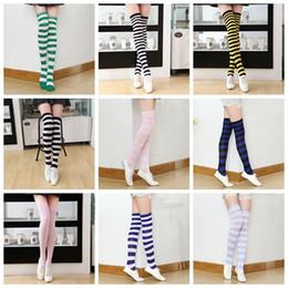 a9b7d0f1ea04f chaussettes longues et longues Promotion 22colors filles longues chaussettes  rayées femmes sexy rayures genoux cuisse haute