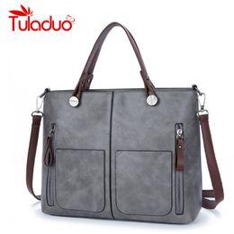 Wholesale Vintage Leather Doctors Bag - TuLaduo Brand Vintage Lady Handbag Women Designer Shoulder Bags PU Leather Double Pocket Zipper Bags Casual Tote Sac a Main
