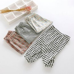 Wholesale Red Mosquitoes - 2018 summer new Korean style children girls checkered nosing thin anti mosquito pants soft comfortable and beautiful