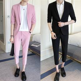 Moderno Último Escudo Pantalones Diseñadores Medias Mangas Para Hombre  Trajes de Esmoquin de Color Sólido Trajes Slim Fit 2 Piezas (Chaqueta +  Pantalones) ... 5213daf6ab8
