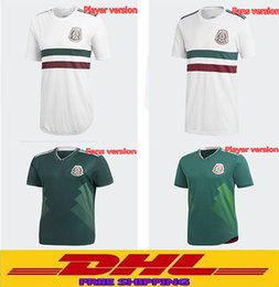 Wholesale Customized Rugby Jersey - DHL Free shipping 2018 Mexico Soccer Jersey Home Away Player version fans version Size can be mixed batch Can be freely customized