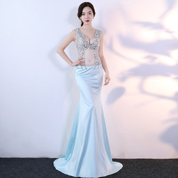 aa3940f8652 Diamonds V-Neck Voile 2018 New Women s Elegant Long Gown Party Prom For Gratuating  Date Ceremony Gala Evening Dresses A26