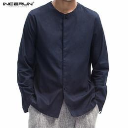 Chinesische kragen leinen shirts online-Incerun Männer chinesischen Stil Solid Langarm kragenlose Shirt Männer Casual Slim Fit Baumwolle Leinen Shirts Männer Shirt ohne Kragen