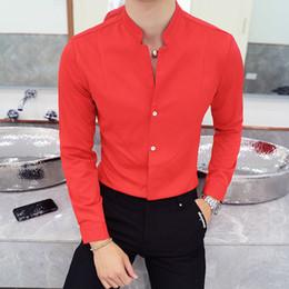 8b16de8e5e Mandarin Collar Camisa Hombres 2018 Nuevo Otoño Chino Collar Solid Camisa  Hombres Manga Larga Stand Collar Camisa Social Masculina 5xl