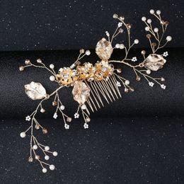 metallkettenhaarstücke Rabatt Haarschmuck Für Frauen Krone Stirnband Haar Kamm Clips coroa de noiva JewelryPearl Gold Blume Haarband Hochzeit Braut Diademe