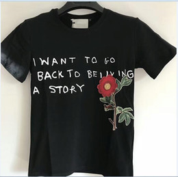 Wholesale Flower Stories - 18ss Luxury Europe Italy High Quality Summer Story Flower Tshirt Fashion Men Women T Shirt Casual Cotton Tee Top