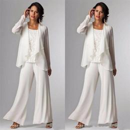 Calças elegantes da noite do laço on-line-Elegante Mãe da Noiva Vestidos Tornozelo Comprimento Manga Comprida Casacos de Renda Pant Ternos para As Mulheres Mãe Noivo Plus Size Vestidos de Noite