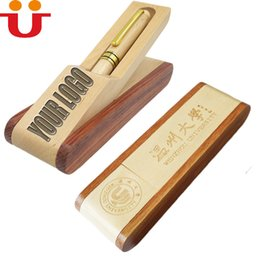 Wholesale Wood Pen Box Case - 50pcs lot Good Quality Your LOGO Customized Wood Pen Case Folding Pencil Pen Box Pen Holder School Office Supplies Laser Carved Name LOGO