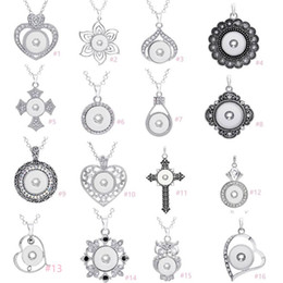 Wholesale Stainless Steel Charms Pendants - 7 Styles Noosa Assorted Ginger 18mm Snap Buttons Chunk Charms Crystal Heart Multi Pendant Necklaces 316L Stainless Steel Chain Jewelry