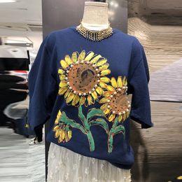 bddc9de56fb Korean Beadings Sunflower Graffiti Printed Women s T-shirts 2018 New Summer  Short Sleeve Femme Loose Tops Round Neck Female Tees