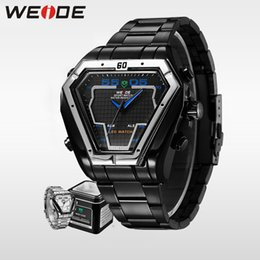 Wholesale Gold Weide - WEIDE luxury LED Watch Men Sports Alarm Clock Analog Digital 3ATM Waterproof Japan Quartz Movement Full Stainless Steel Watches
