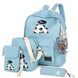 Wholesale cute panda backpacks - 2017 New Fashion Canvas Backpack Schoolbags School For Girl Teenagers Panda Casual Children Travel Bags Rucksack Cute Printing