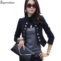 Wholesale Lady Suits Wholesale - Ladies Blazer Femme Suit Blazer Women Offie 2017 Double Breasted Black Autumn Long Sleeve Short Slim Jacket Work Coat BL04