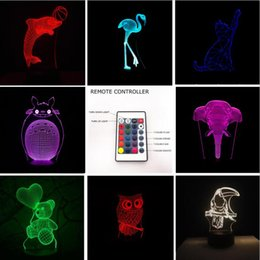 Wholesale Night Light Bear - 2018 Hot 3D Lion Flamingos Bear Dolphin Cat Fish Elephant 7 Color Gradient Remote Control Lamp Visual Led Night Lights Kids Table Baby Toys
