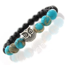 Wholesale clay owl - Owl Natural Stone Beads Bracelet & Bangle for Men Women Stretch Yoga Jewelry Fashion Accessories Gifts for Lovers