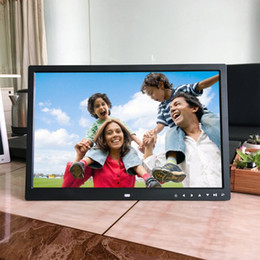 Schermo digitale touch screen online-EU / US Plug 17 pollici HD Digital Photo Frame Album elettronico Front Touch Pulsanti Multi-lingua schermo LED Immagini Music Video