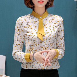 2018 Spring New small floral chiffon shirt women long sleeve bow tie elegant blouse office ladies plus size formal tops от