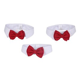 Wholesale wedding cravats - With Red Bowtie Pet Collar Lovely Easy To Wear Dog Tie For Wedding Adjustable Puppy Cravat Popular 5 29jz B