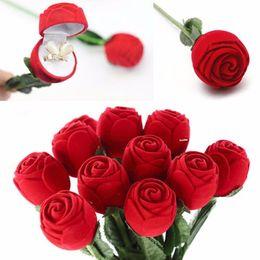 Paquetes de encantos rojos online-Caja de anillo de flor rosa roja del encanto del partido Pendiente de la boda Colgante Caja de regalo Caja de regalo Caja de exhibición Cajas