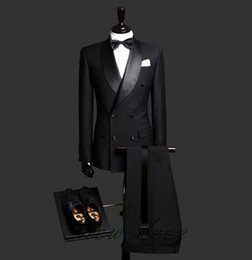 Doppeljacke design online-Maßgeschneiderte Hochwertige Maßgeschneiderte Schwarz Zweireiher Business Herren Anzüge Design Männliche Anzüge Maßanzug (Jacke + Hose)