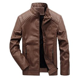 Wholesale Motorcycle Jackets Leather Classic - Wholesale- new winter men's leather jacket coat classic leather motorcycle leather jacket leisure clothing Plus velvet Stand collar