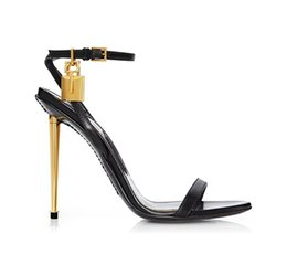 Wholesale black ankle strap pumps - Celebrity New Fashion Shoes Woman Sexy Pumps Open Toe Padlock Sandalias Mental Stiletto High Heels Ankle Strap Sandals Women Plus Size 35-44