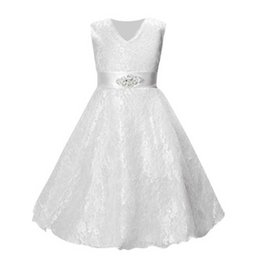 Wholesale Party Dresses For Teenage Girls - Girls party wear clothing for children summer sleeveless lace princess wedding dress girls teenage well party prom dress