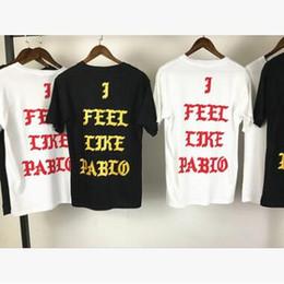 2019 нью-йорк печатные футболки Kanye West новая футболка Я чувствую, как Паб Ло Нью-Йорк футболки с коротким рукавом красный синий тройник печати футболка дешево нью-йорк печатные футболки
