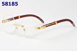 Wholesale Fr Sports - With Box Men Rimless Glasses Wooden Buffalo Horn Glasses Brand Designer Optical Sunglasses Women Silver Gold Wood Glasses Carving Eyewear Fr