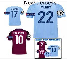 Wholesale Uniform Ribbons - 2017 2018 man City soccer Jerseys uniforms kit DZEKO KUN AGUERO KOMPANY TOURE YAYA DE BRUYNE Home men Shirt short sleeve polyester ribbon
