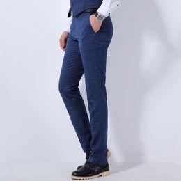 Wholesale Man Western Style Suits - Wholesale- Men's brand casual long Western-style trousers slim Business Casual pants 2017 new plaid color cotton suit Pants tops size 36
