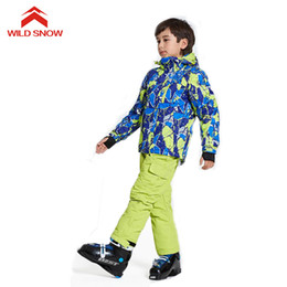 Wholesale Wild Child Clothes - WILD SNOW boys girls ski suit windproof snow jacket of Winter Sports Child Thickened Clothes 3 colors , D110