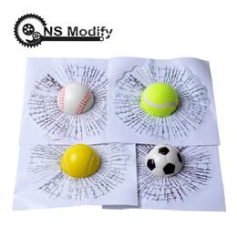 3d ball window sticker Sconti NS Modifica Car Styling Baseball Calcio Tennis Stereo Rotto Vetro 3D Sticker Car Window Ball Hits Autoadesivo divertente Decal