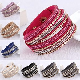 Wholesale wholesale sparkle jewelry - 7 Colors Sparkling Gold Charm Crystal Rhinestone Multilayer Wrap Bracelet Bangle Cuffs Women Fashion Jewelry drop shipping