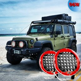 Wholesale Off Road Roof Light Bar - 9inch Red 96W Round LED Work Light 12V Fog Driving Roof Bar Bumper off-Road Light Bar for Truck Car ATV SUV Jeep Boat ATV Auxiliary ,2piece