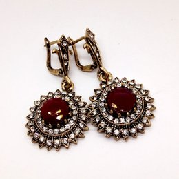 Wholesale Antique Chandelier Earrings - Bijoux Antique Turkish Jewelry Red Resin Sunflower Earrings For Women Vintage Round Princess Hooks Long Earring Max Brincos