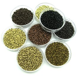 Wholesale micro bond hair extensions - 1000Pcs Nano Cooper Micro Rings Beads For Use With Nano-Tipps Pre Bonded Hair Extensions Black Brown Blonde Nano Micro ring