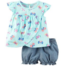 b49b14e2f3e2 Blue Butterfly Baby Girl Clothes Set Children Dresses Outfits Cotton 2pcs  Clothing Suit Girls Blouse Short Pant Outfits 0-2 Year