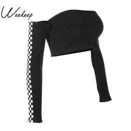 Wholesale womens long sleeve crop tops - Wholesale-Weekeep Womens Patchwork Plaid Printed Tshirt 2017 Off The Shoulder Checkboard Cropped Tops Long Sleeve Slim Casual Black Top