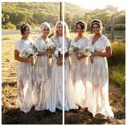 Wholesale personalized dresses - 2019 V-Neck Lace Bridesmaid Dresses Long Short Sleeves Plus Size Vestidos De Bridesmaids Party Gowns Personalized Cheap Honor Of Maid