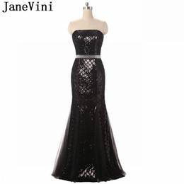 JaneVini Bling Black Prom Dresses Mermaid Paillettes Women Formal Party Gowns Senza spalline In rilievo Vita africana Vestito da festa Vestito da laurea da