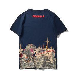 2018 cool Godzilla monstro novo dos homens T-shirt de algodão verão anime T-shirt branco dos desenhos animados de fitness divertido homme supplier cartoon t shirts for men de Fornecedores de camisas dos desenhos animados t para homens