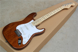 Wholesale Custom Pickguard Guitar - Factory custom brown body electric guitar with SSS pickups,white pickguard,chrome hardware,can be customized