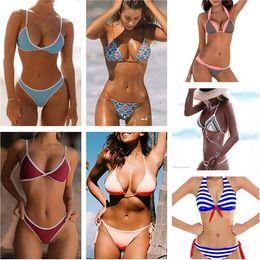 Wholesale Ladies Ivory Suits - Ladies Sexy Swimwear Bikini Brazilian Triangle Beach Bathing Suit Vintage Printing Bikinis Striped Swimwear Beachwear CCH0117