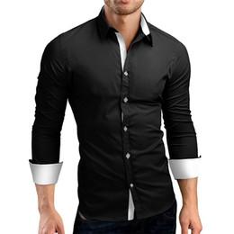 abeac2c85f6 черная белая мужская рубашка хлопка Скидка Платье рубашка мужчины slim fit  стиль мужской для мальчиков белый